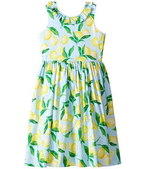 Oscar de la Renta Childrenswear Painted Lemons Cotton V-Back Dress (Toddler/Little Kids/Big Kids)