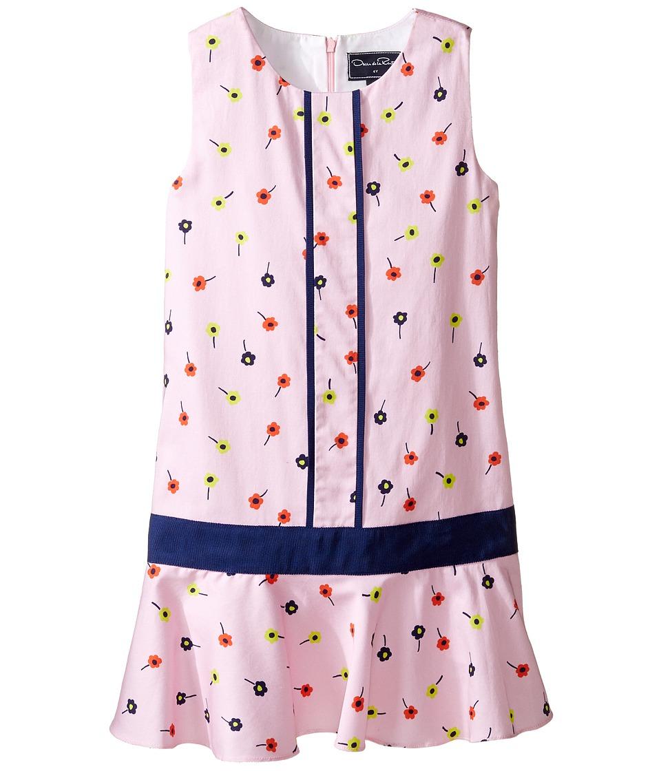 Oscar de la Renta Childrenswear - Mini Daisy Toss Cotton Drop Waist Dress