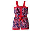Oscar de la Renta Childrenswear - Graphic Floral Cotton Romper (Toddler/Little Kids/Big Kids)
