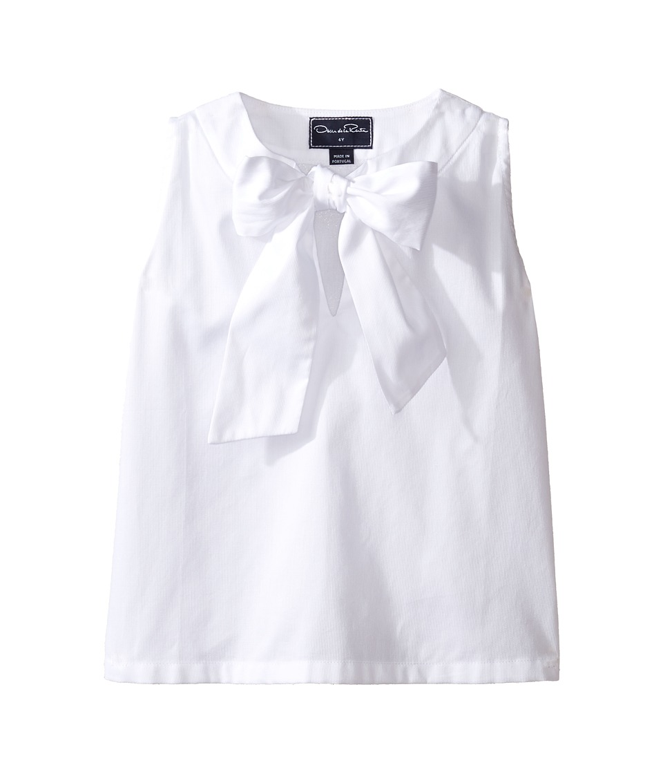 Oscar de la Renta Childrenswear - Cotton Sleeveless Bow Blouse