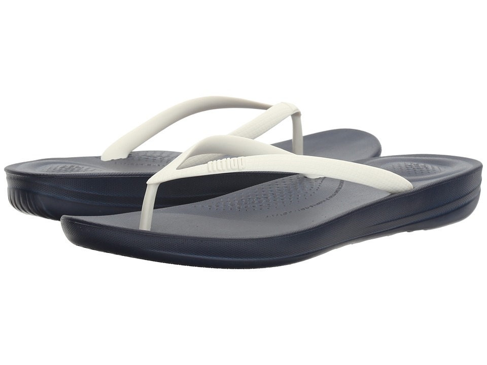 FitFlop - Iqushion Ergonomic Flip-Flop (Midnight Navy/White) Womens Sandals