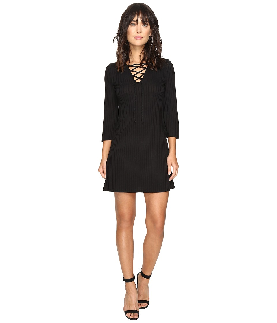 kensie Rib Lace-Up Dress KS2U7007 (Black) Women
