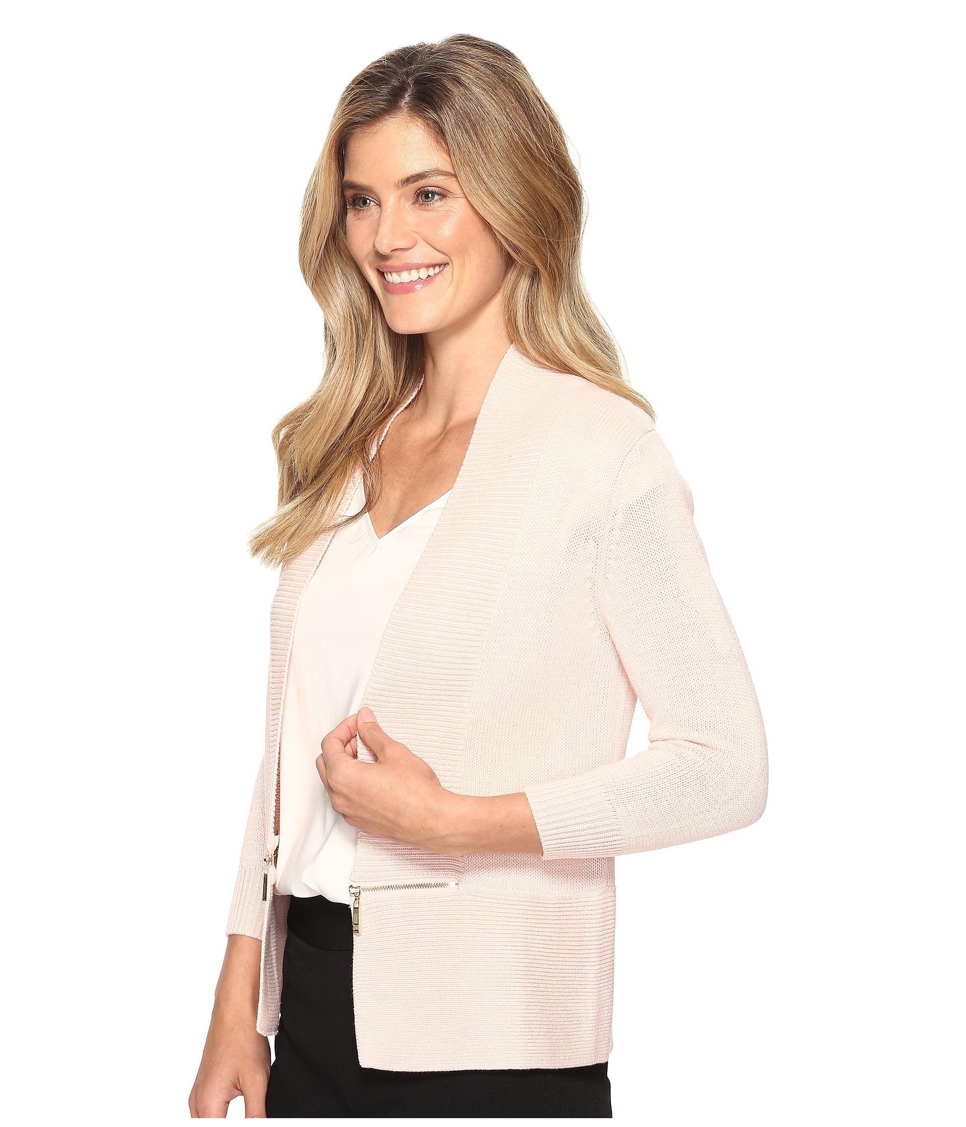 Ivanka Trump Open Fly-A-Way Zipper Cardigan Sweater - Zappos.com Free ...