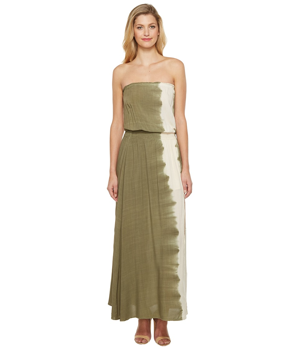 Culture Phit Essence Strapless Tie-Dye Maxi Dress with Slit (Olive) Women