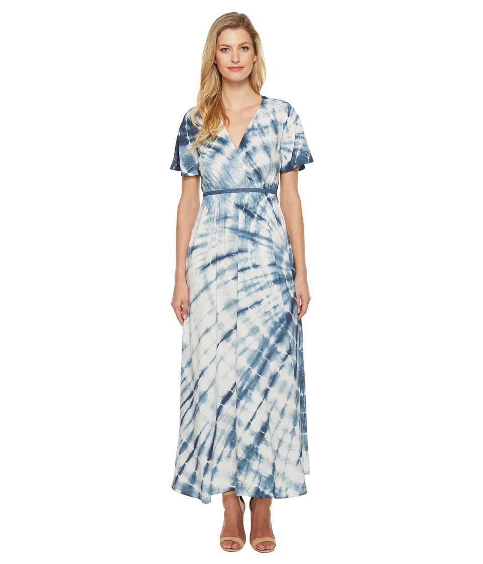 Culture Phit Fabiola Short Sleeve Tie-Dye Maxi Dress (Ivory/Navy) Women