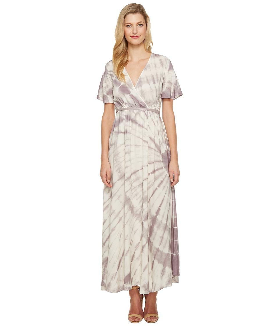 Culture Phit Fabiola Short Sleeve Tie-Dye Maxi Dress (Ivory/Red Bean) Women