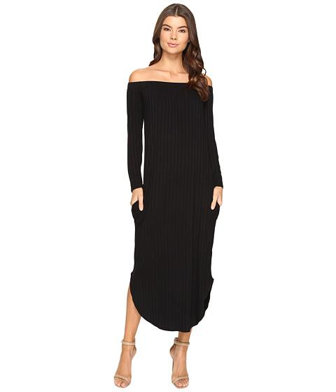 Culture Phit Karyme Off the Shoulder Long Sleeve Pocketed Dress - Black