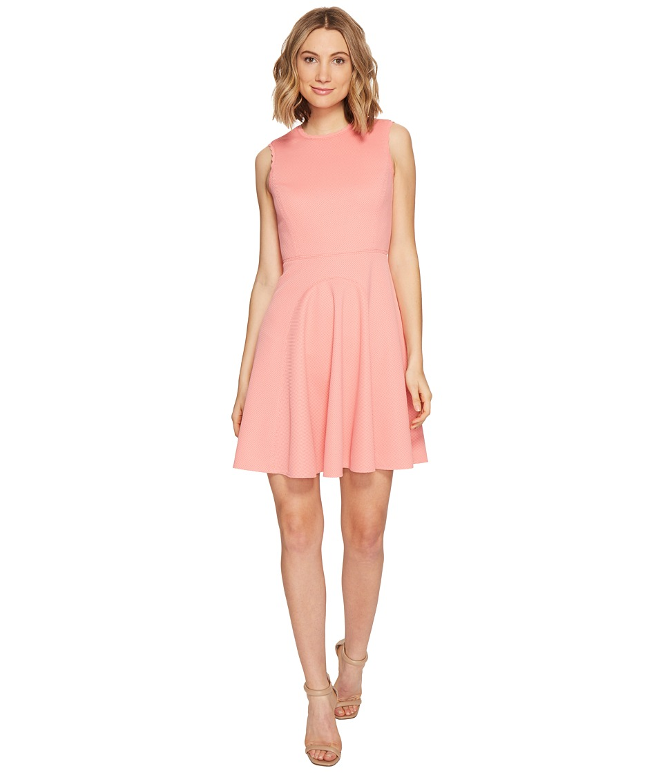 Rebecca Taylor Sleeveless Stretch Texture Dress (Pink Grapefruit) Women