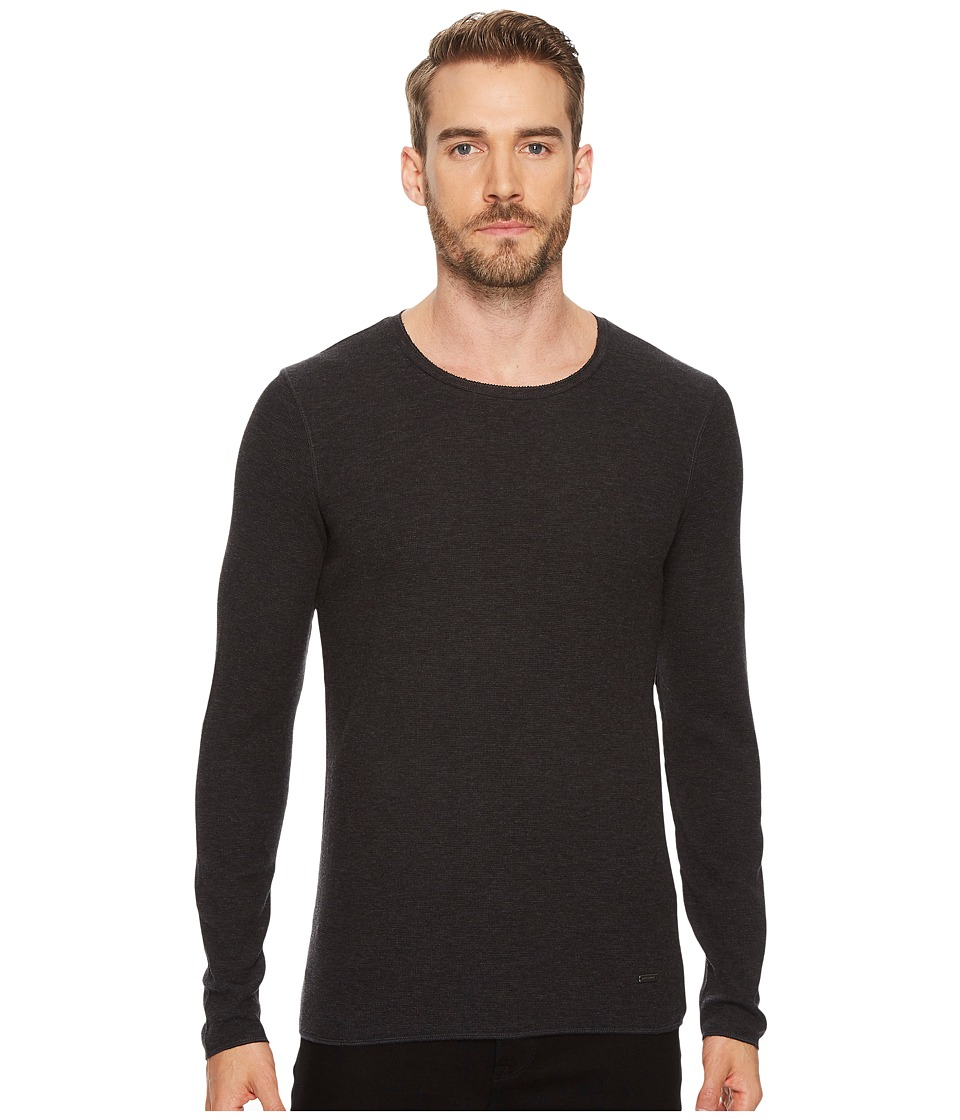 BOSS Orange Terris 1 Long Sleeve Heather Waffle T-Shirt (Black) Men