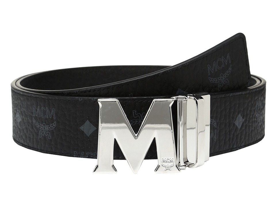 MCM - Claus Reversible Silver Buckle Belt (Black) Mens Belts