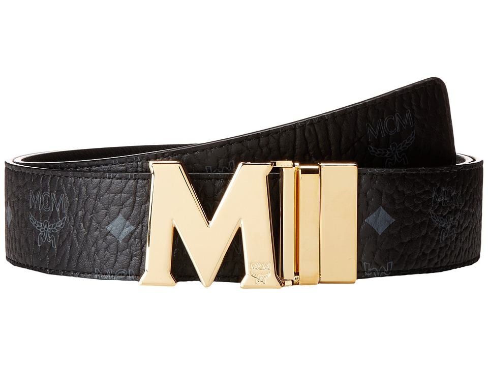 MCM - Claus Reversible Gold Buckle Belt (Black) Mens Belts