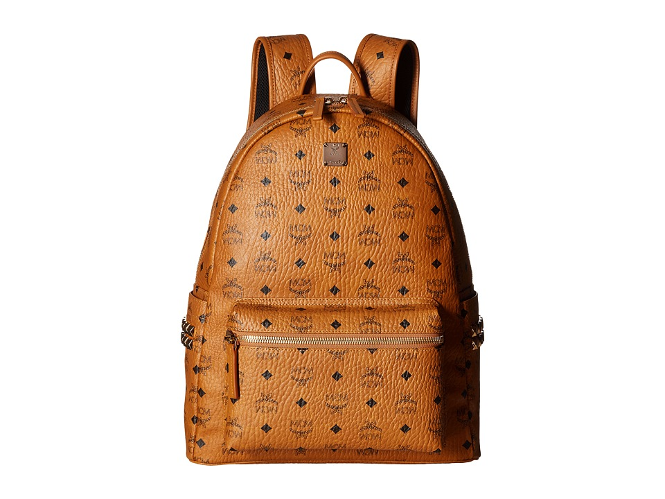 MCM - Stark Side Stud Medium Backpack (Cognac) Backpack Bags