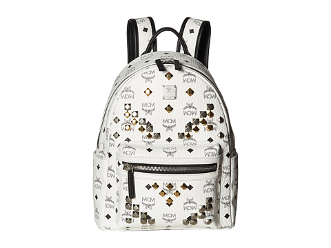 MCM Stark M Stud Small Backpack - White