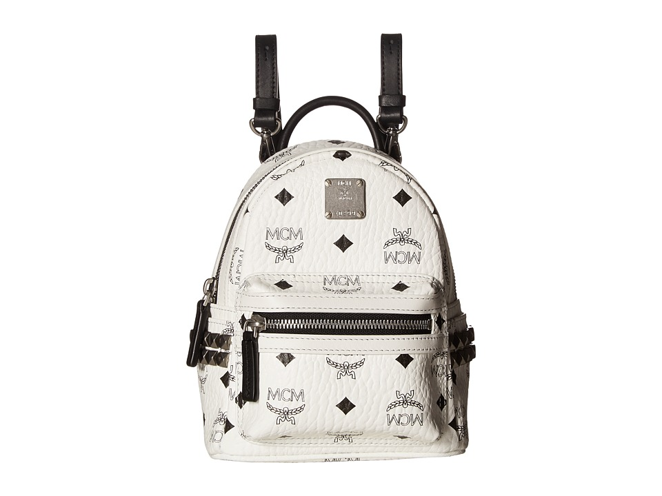 MCM - Stark Side Stud Mini Backpack (White) Backpack Bags