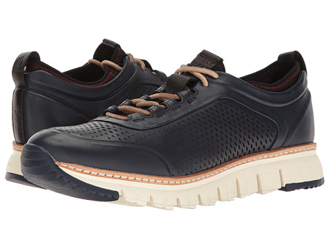 Cole Haan ZeroGrand Perforated Sneakers - Marine Blue Leather/Black/Rainstorm/Ivory