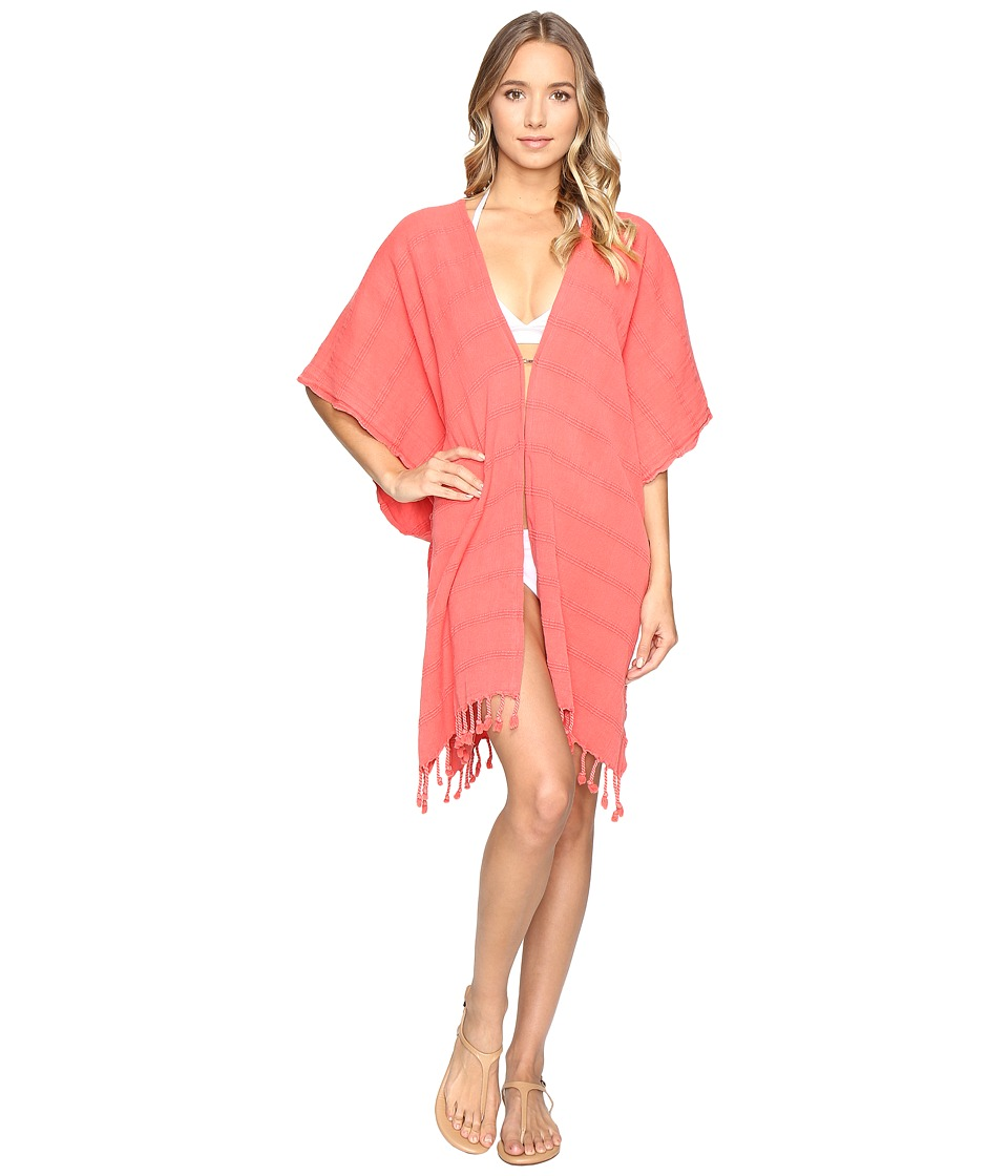 Hat Attack - Beach Poncho Cover-Up (Coral) Womens Swimwear
