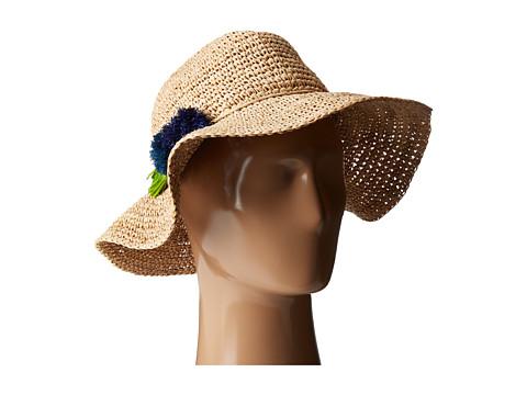 Hat Attack Chunky Crochet Continental w/ Pom Tassel - Natural/Blues