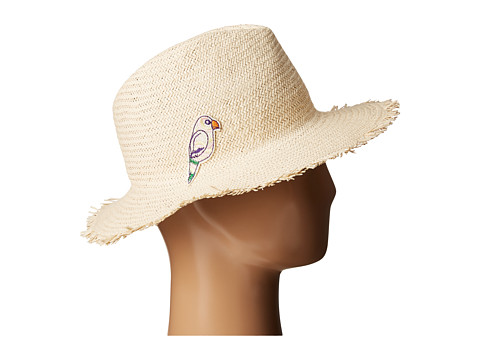 Hat Attack Parrot Patch Fringed Rancher - Natural/Parrot