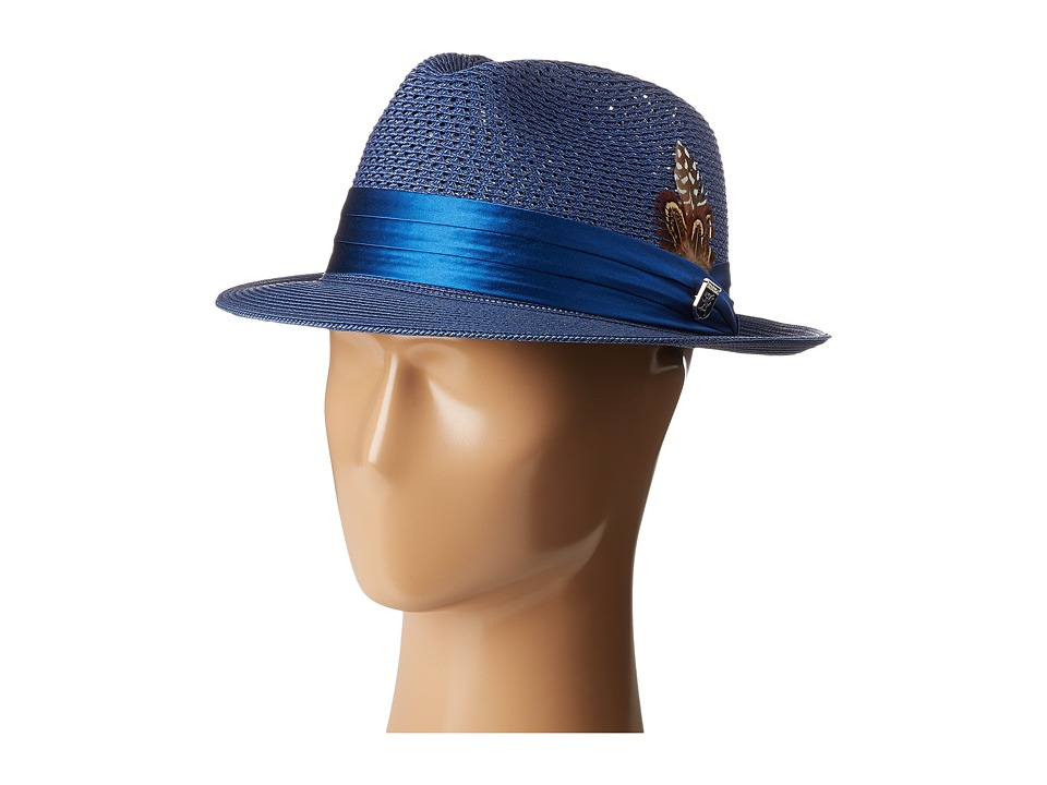 Stacy Adams Polybraid Pinch Front Fedora with Silk Band (Blue) Fedora Hats