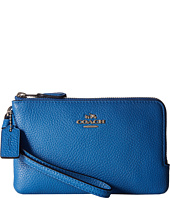 COACH - Polished Pebbled Leather Double Small Wristlet
