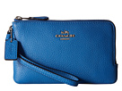 Polished Pebbled Leather Double Small Wristlet