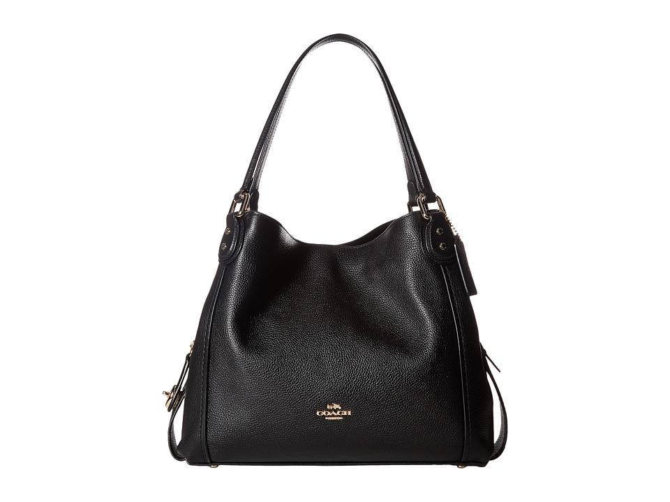 COACH - Pebbled Leather Edie 31 Shoulder Bag (LI/Black) Handbags