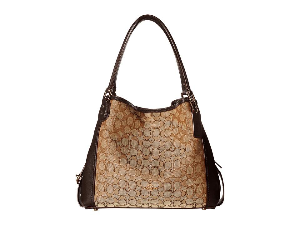 COACH - Signature Edie 31 Shoulder Bag (LI/Khaki/Brown) Handbags