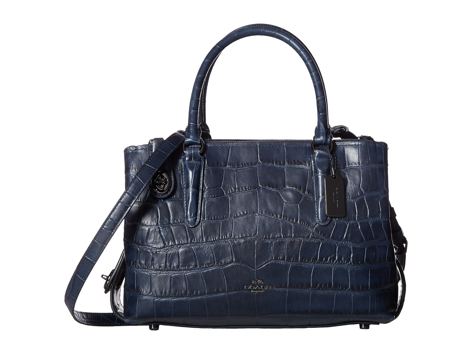 COACH Embossed Croc Brooklyn 28 Carryall at Zappos.com