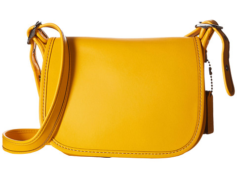 COACH Glovetanned Leather Saddle Bag 18 - DK/Yellow