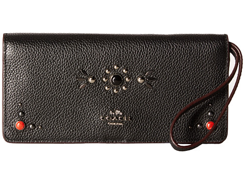 COACH Western Rivets Slim Wallet - SV/Black
