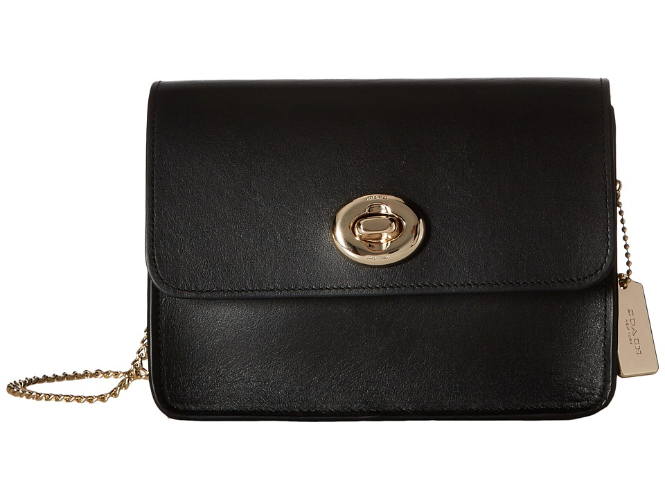 COACH - Refined Calf Leather Turnlock Crossbody (LI/Black) Cross Body Handbags
