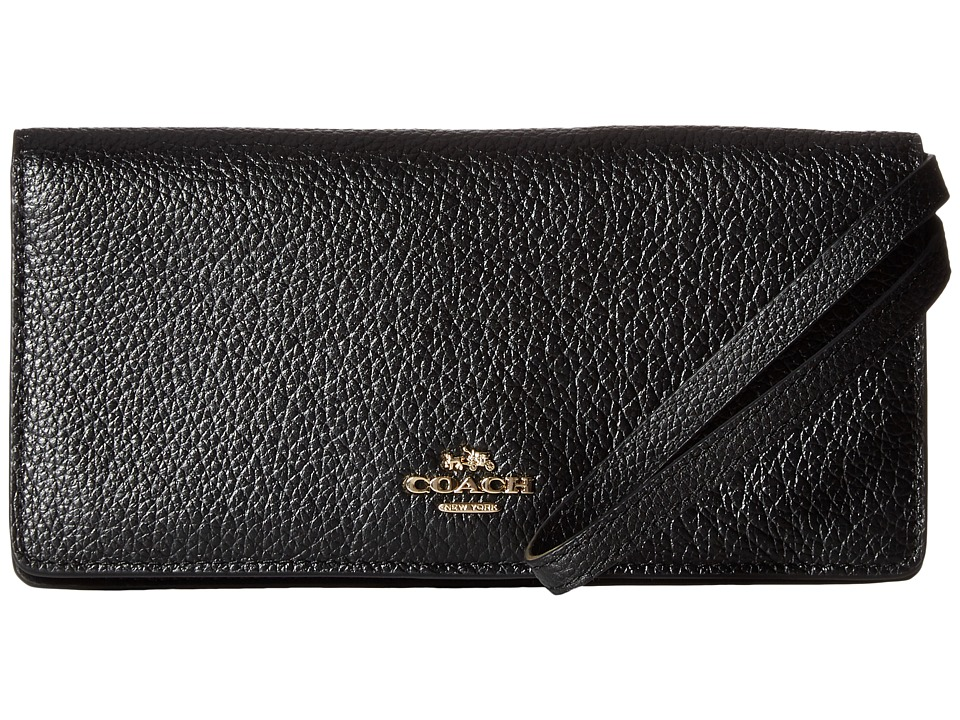 COACH - Pebbled Leather Slim Wallet (LI/Black) Wallet