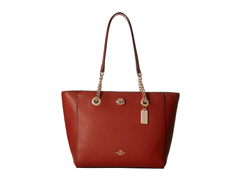 COACH Pebbled Turnlock Chain Tote 27 - LI/Terracotta