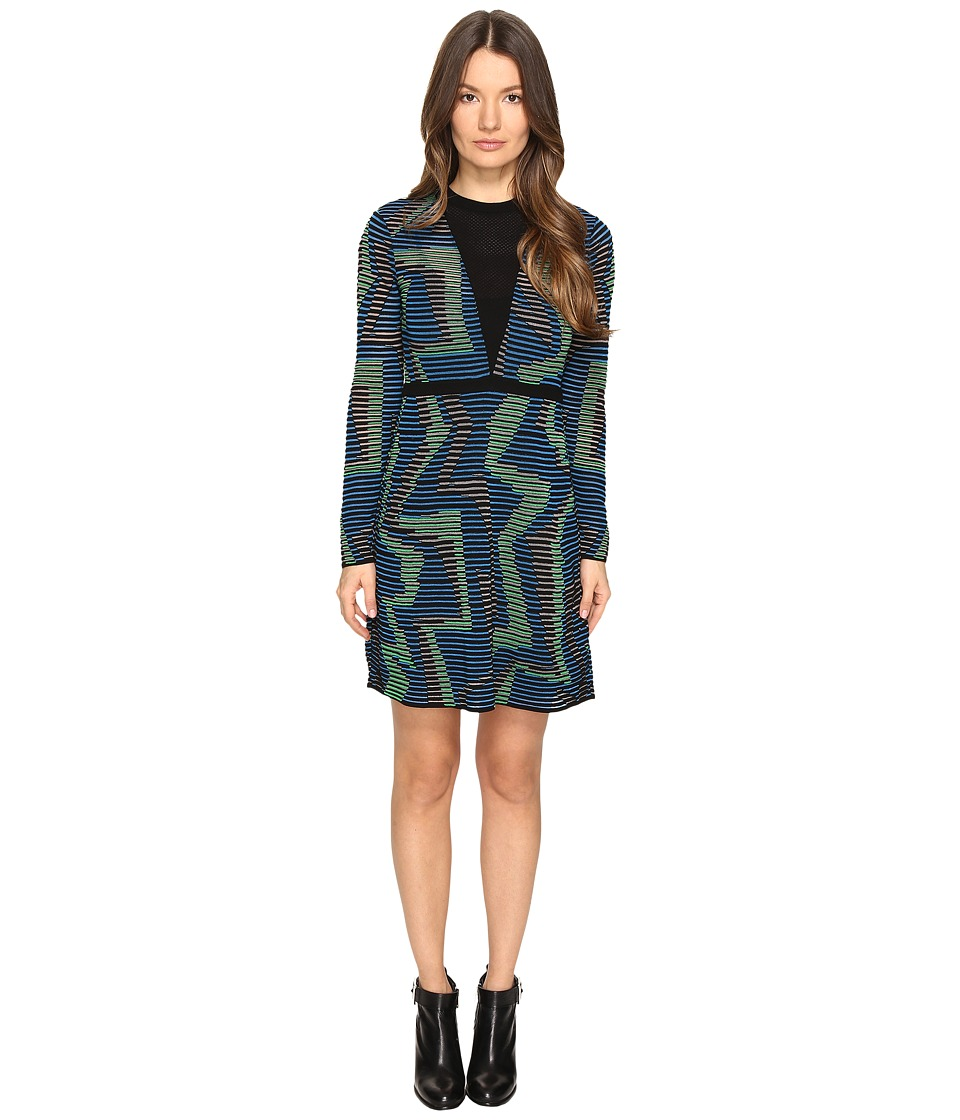 M Missoni Geo Knit Long Sleeve Dress (Blue) Women