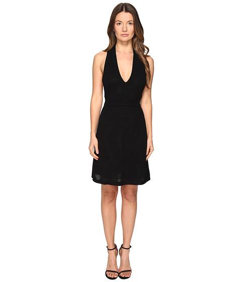 M Missoni Solid Rib Stitch V Dress - Black