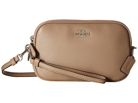 COACH Pebbled Leather Crossbody Clutch - Sv/Stone