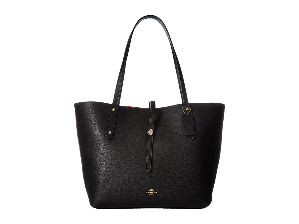 COACH - Polished Pebbled Leather Market Tote (LI/Black/True Red) Handbags
