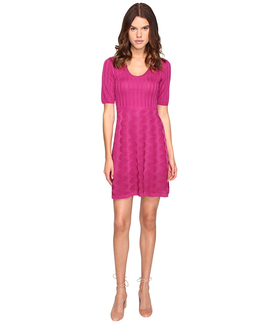 M Missoni Solid 3/4 Sleeve Dress (Fuchsia) Women