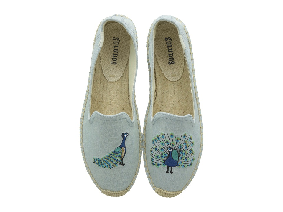 Soludos Peacock Embroidered Smoking Slipper (Chambray) Slippers