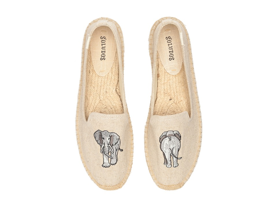 Soludos Elephant Embroidered Smoking Slipper (Sand) Women