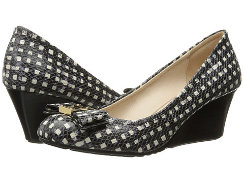 Cole Haan Tali Grand Bow Wedge 65 - Black/White Grid