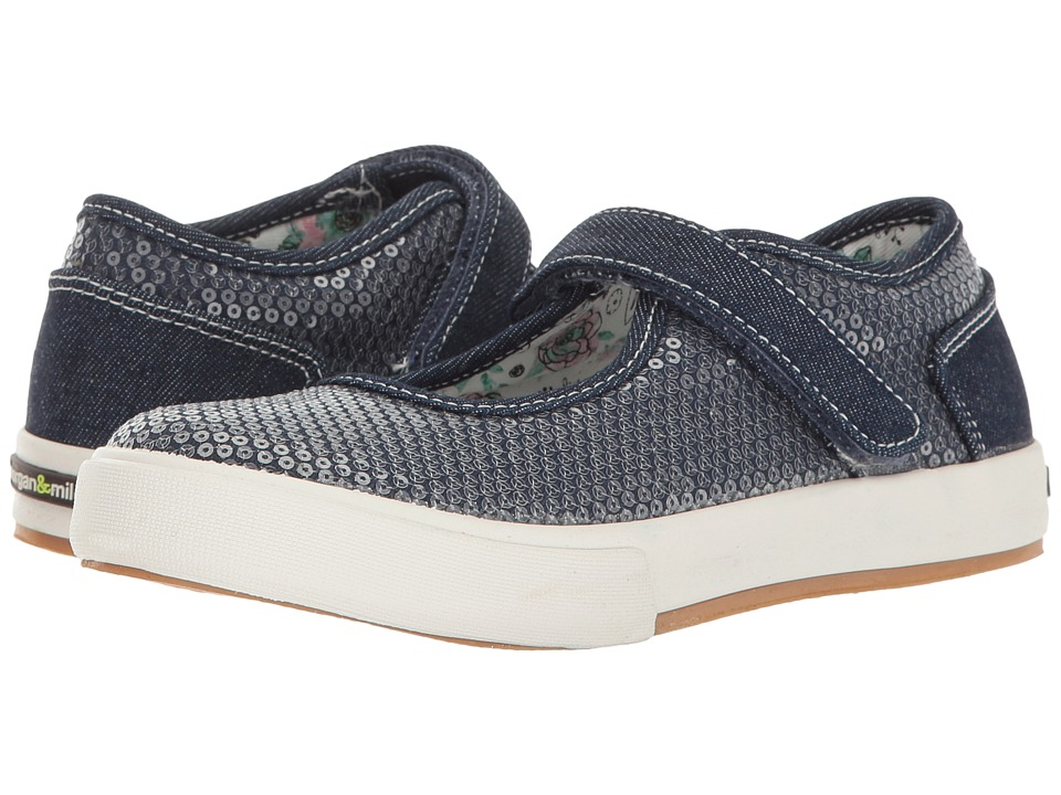 Morgan + Milo Maddie Mary Jane Sequined (Toddler/Little Kid) (Chambray) Girls Shoes