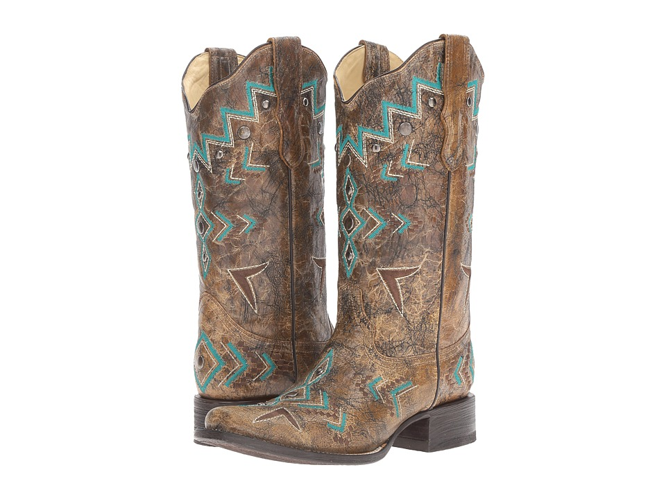 Corral Boots - E1024 (Bronze/Turquoise) Womens Boots