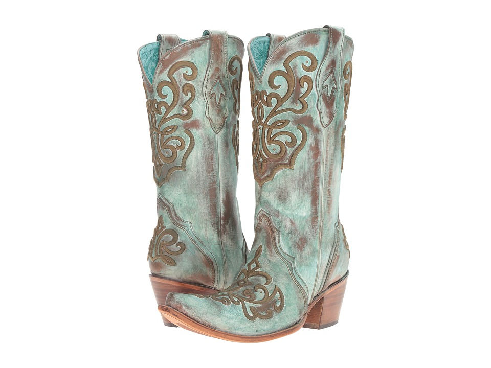Corral Boots - C2990 (Tan/Turquoise) Womens Boots