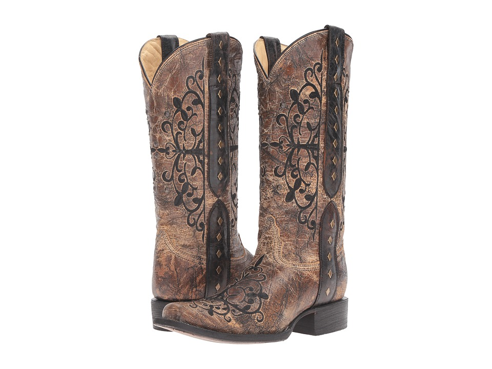 Corral Boots - R1345 (Black/Bronze) Womens Boots