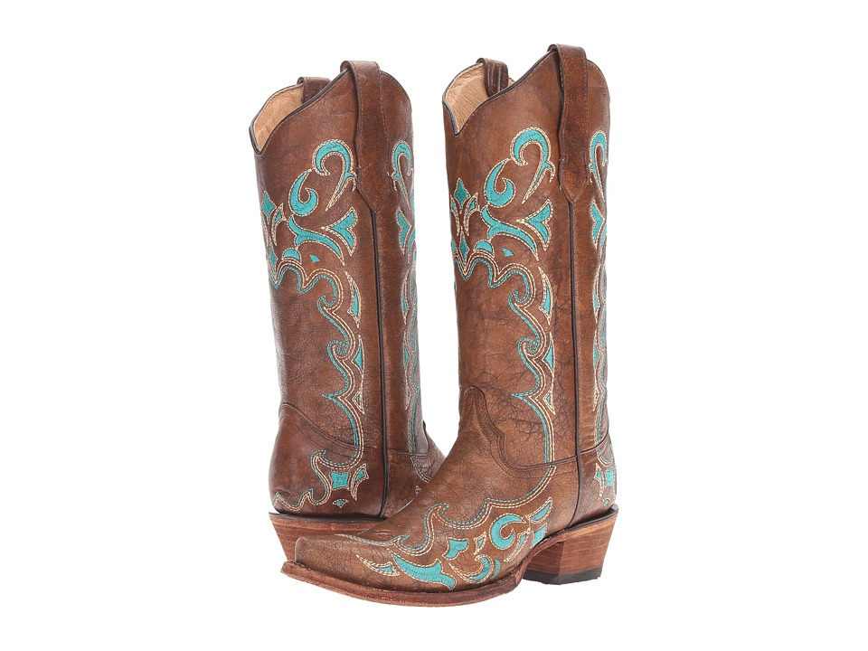 Corral Boots - L5193 (Brown/Turquosie) Women's Boots