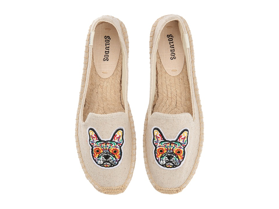 Soludos Frenchie Embroidered Platform Smoking Slipper (Sand) Slippers
