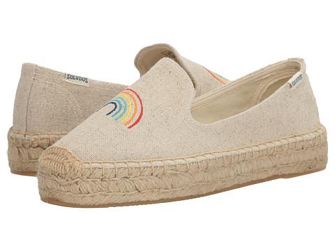 Soludos Rainbow Embroidered Platform Smoking Slipper - Sand