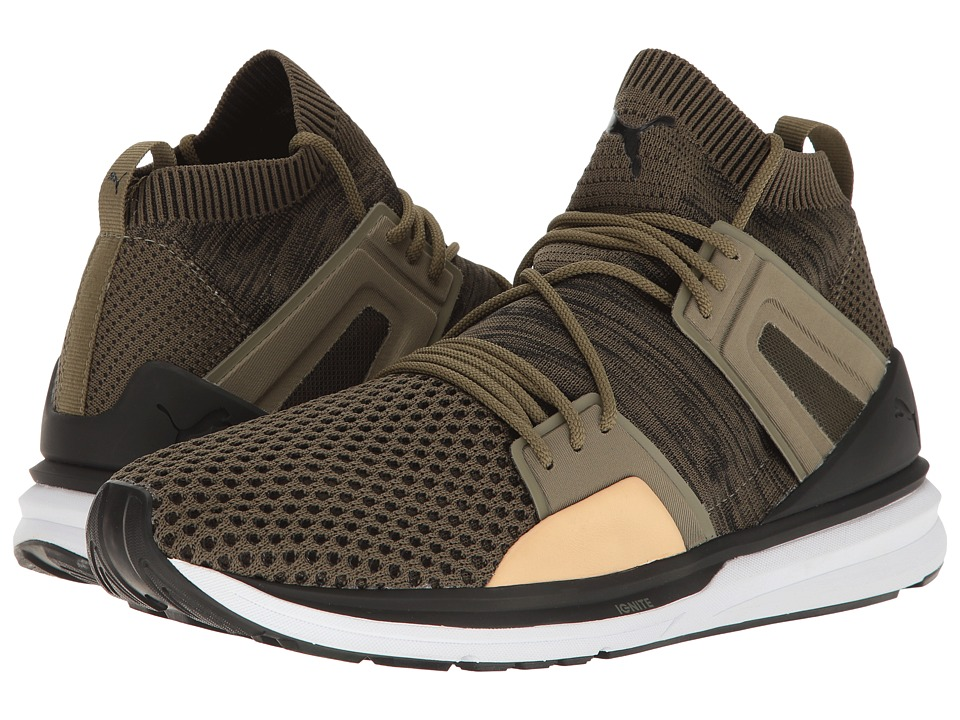 PUMA - B.O.G Limitless Hi Evoknit (Burnt Olive/Puma Black/Puma White) Mens Shoes