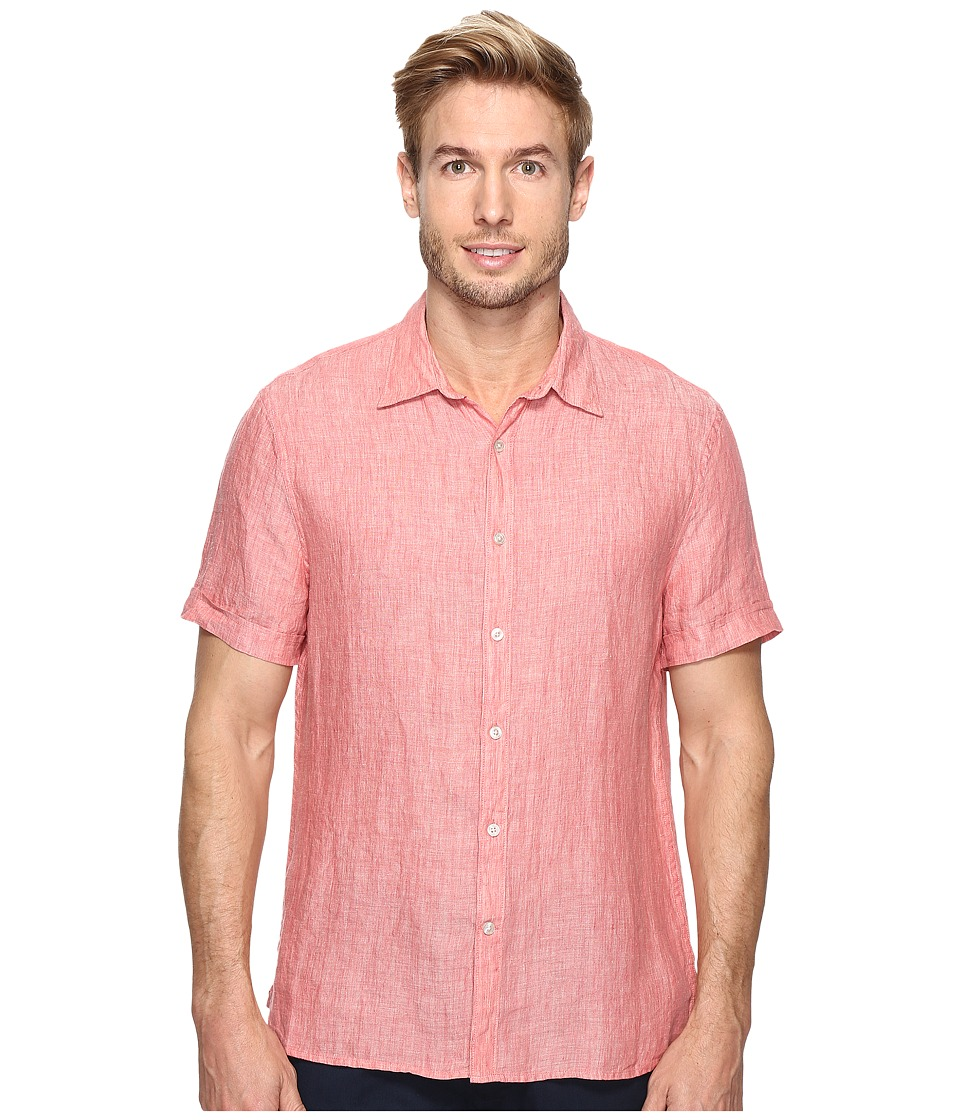 Perry Ellis - Short Sleeve Solid Linen Shirt (Mineral Red) Mens Clothing